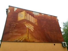 """Senoji sienų tapyba. Sauliaus Kuzmos """"Sakalas"""" reklamavo """"Sakalo"""" fotoateljė."""