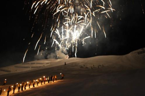 Solden, Austrija. Naktinis šou kalnuose.