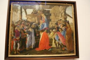 Uffizi galerija, Sandro Botticelli kūrinys, kuriame įamžinti Medičiai ir pats autorius