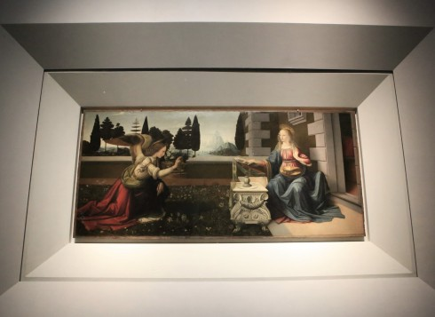 "Uffizi galerija, Leonardo da Vinči ""Apreiškimas"""