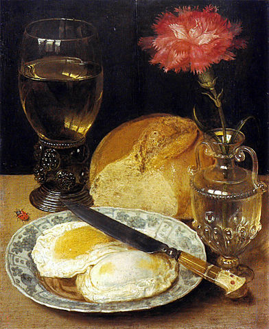Georg Flegel, Snack With Fried Eggs, 1600.