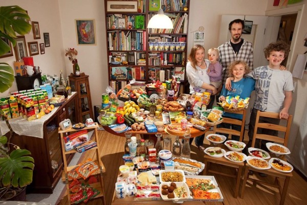Peter Menzel, Faith D'Aluisio. Germany. The Sturm Family of Hamburg. Food Expenditure for One Week: € 253.29 or 325.81 USD
