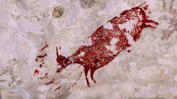 Indonezijos olų piešinių fragmentas, maždaug prieš 44000 metų.