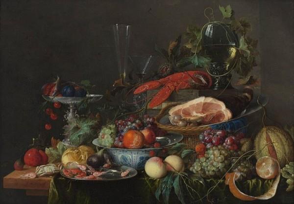 Jan Davidsz de Heem, Still life with ham, lobster and fruit, 1653.