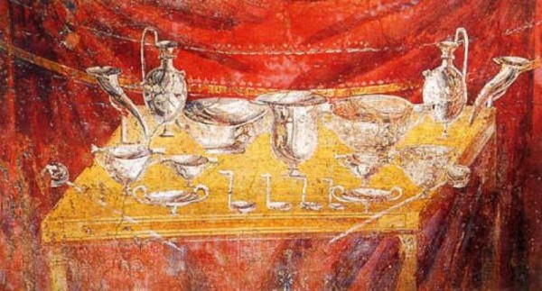 Wall painting of a silver service for drinks. Tomb of Vestorio Prisco, 75 a.C. Excavations of Pompeii, Naples.