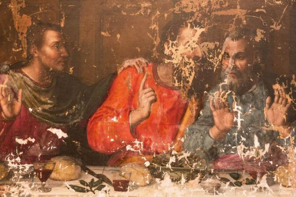 Plautilla Nelli, The Last Supper, pre-restoration, possibly Thomas and Peter (Francesco Cacchiani), 1568.