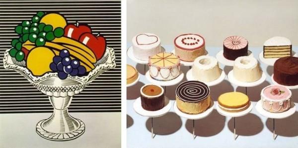 Roy Lichtenstein, Still Life With Crystal Bowl / Wayne-Thiebaud, Cakes, 1963.