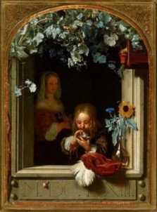 Franz van Miris the Elder, A Boy Blows Soap Bubbles, 1680.