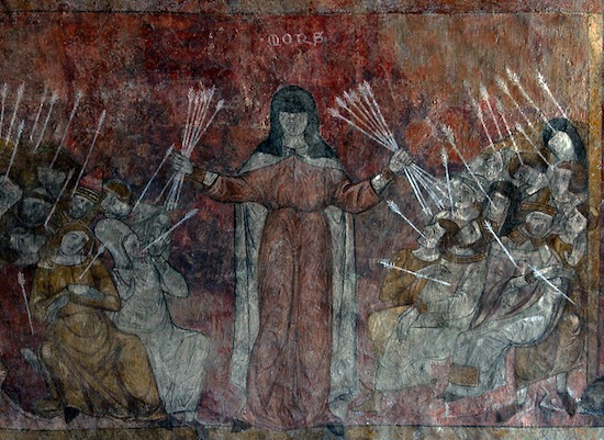 Fresco in the former Abbey of Saint-André-de-Lavaudieu, France, 14th.
