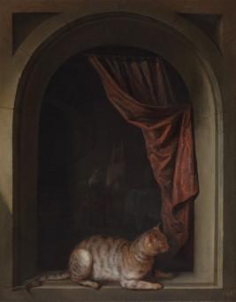 Gerrit Gerard Dow, Cat Lying on the Windowsill at the Artists Studio, 1657.