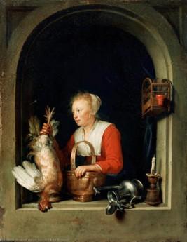 Gerrit Gerard Dow, Dutch Housewife, 1650.