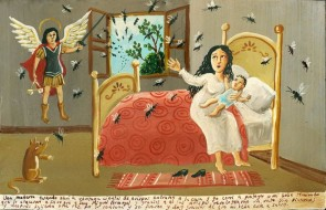 Mexican Retablo, Ex Voto painting, date and artist unknown.