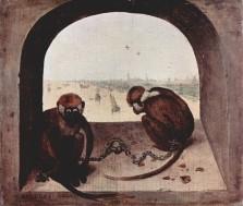 Pieter Bruegel the Elder, Two Monkeys or Two Chained Monkeys, 1562.