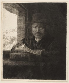 Rembrandt, Self Portrait, Etching at a Window, 1648.