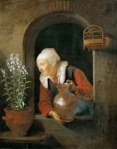 Gerrit Gerard Dow, The Old Woman in the Window Watering Flowers, 1660th.
