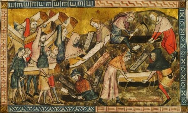 Tournai (Belgija) piliečiai laidoja mirusiuosius 1347–52 m. maro metu. Detail of a miniature from The Chronicles of Gilles Li Muisis (1272-1352), abbot of the monastery of St. Martin of the Righteous.