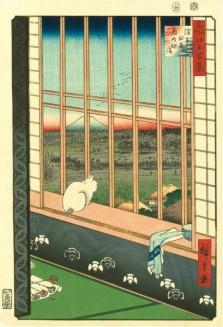 Utagawa Hiroshige, Cat in a Window, woodblock print, Japan, 1860.